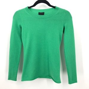 J Crew Collection XXXS Green Italian Cashmere Tee